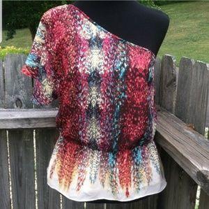NWT a.n.a multicolored boho one shoulder blouse